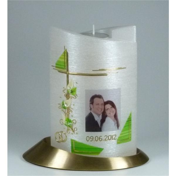 Hochzeitskerzen mit Teelichteinsatz Swarovski Steinen und Text Kerzen Junglas
