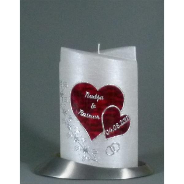 Kerzen Junglas | Hochzeitskerze Oval silber 1362